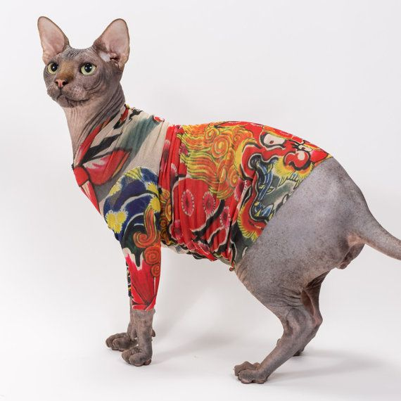 Sphynx Cat Clothes In Kirin By Tattcat Long Sleeve Tattoo Cat Shirt Cat Tattoo Sphynx Cat Clothes Chinese Crested Dog