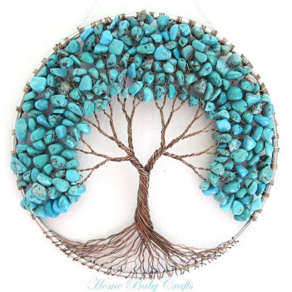 Articles similaires à Amitié turquoise arbre de vie Tenture murale, capteur de soleil, décoration, paix, cadeau pour un ami sur Etsy   – Kolyeler