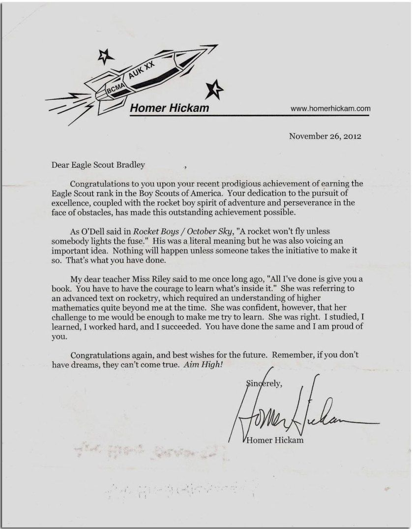 Homer Hickam Responded Back With A Congratulatory Letter For