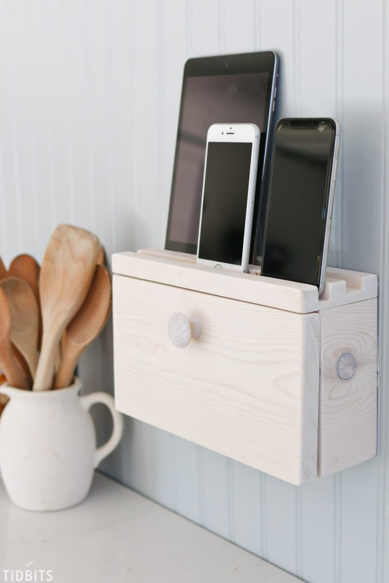 Give your cell phones and devices the perfect place to recharge in style! Build this DIY device charging station (or docking station) to hide cords, free up precious countertop space, and designate a place for the whole family to store their devices when not in use. #charging #device #chargingstation #dockingstation #cellphone #chargephone #camitidbits #kreg #kregtools