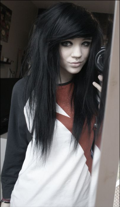 Pin by mickyj 3 on emo hairstyles black hair pinterest emo scene girl with black hair taking mirror selfie voltagebd Gallery