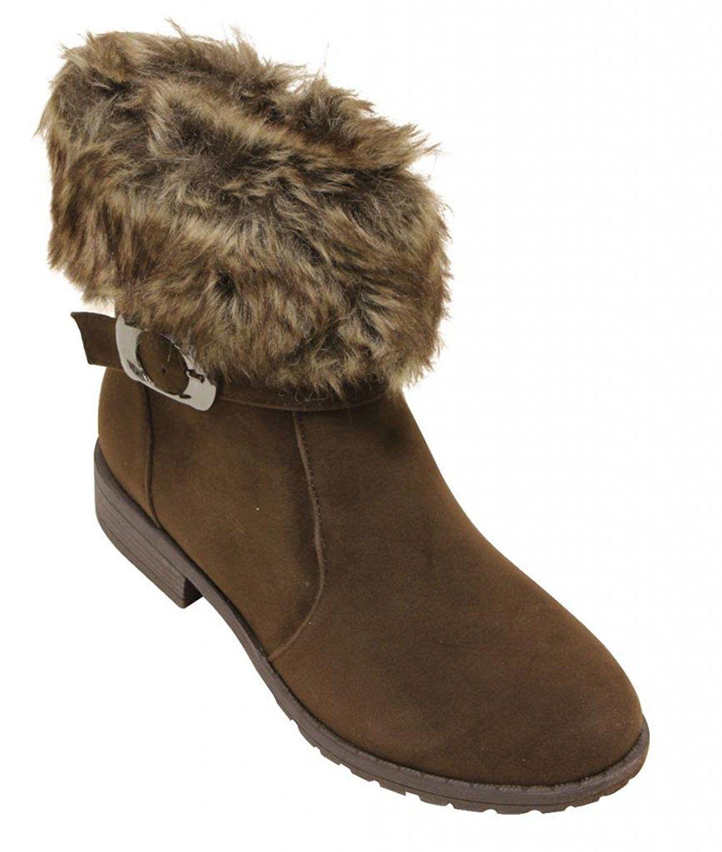 NB200-09 Women Ankle high Faux Fur collar eskimo fringe suede Boots