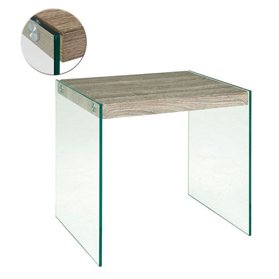 Stylish Dark Oak End Table Comes With Tempered Clear Glass Sides Together With Floor Protectors