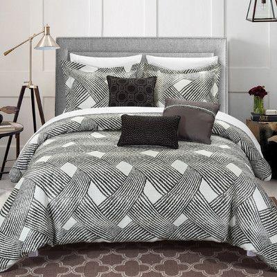 Chic Home Fiorella 6 Piece Comforter Set Size: Queen, Color: Grey