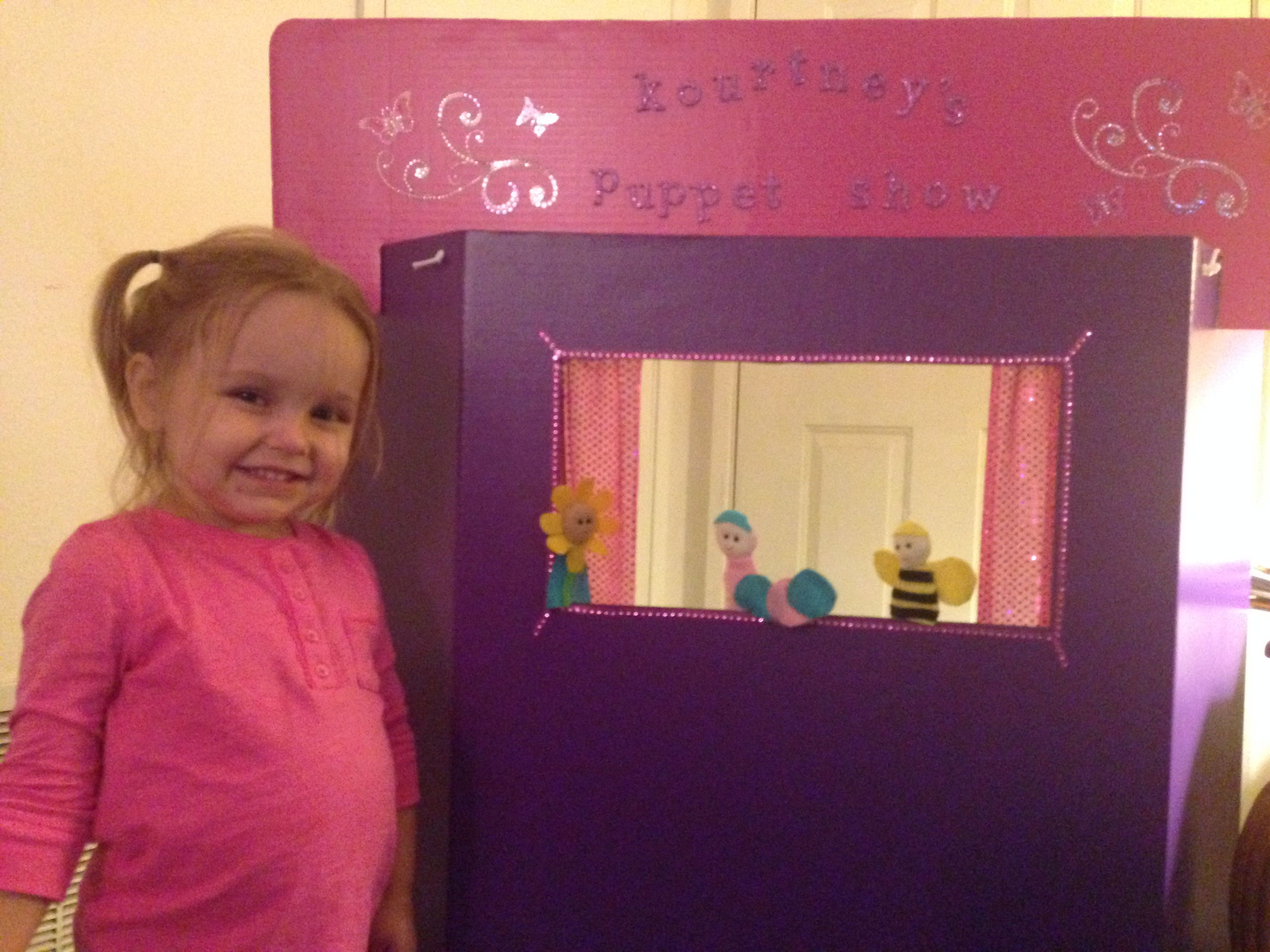 Easy Puppet Theater I Made For My Granddaughter Hobby Lobby Carries The Tri Fold Cardboard Displays In All Different Col Cardboard Display Finger Puppets Kids