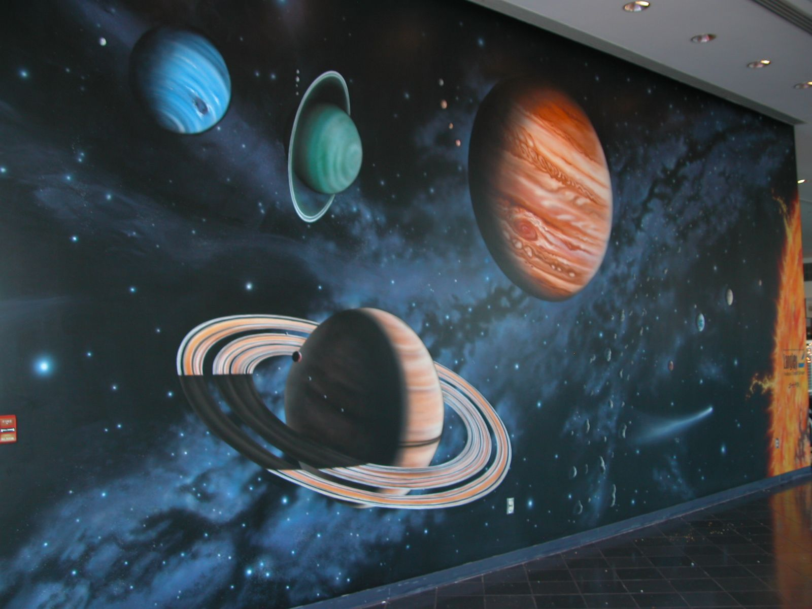 Space wall mural for m 39 boys pinterest wall murals for Astronaut wall mural