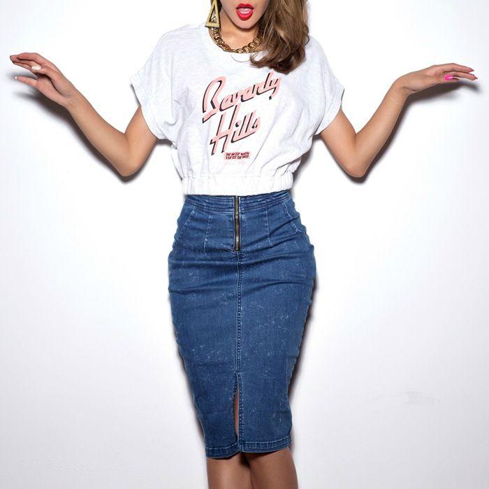 High waisted jean skirt plus size
