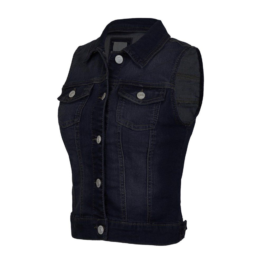 Made By Olivia Made By Olivia Women S Sleeveless Button Up Jean Denim Jacket Vest Walmart Com Black Denim Vest Jean Jacket Vest Vest Jacket [ 1000 x 1000 Pixel ]