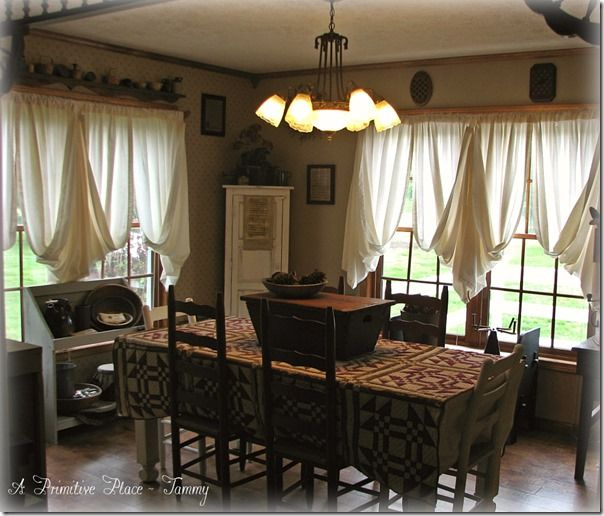Cute Way To Hang Curtains Dining Room Rustic Farmhouse Primitive Cottage