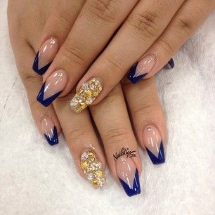 Navy Blue And Nude Coffin Nails With 3d Gold Shimmer Design Nail