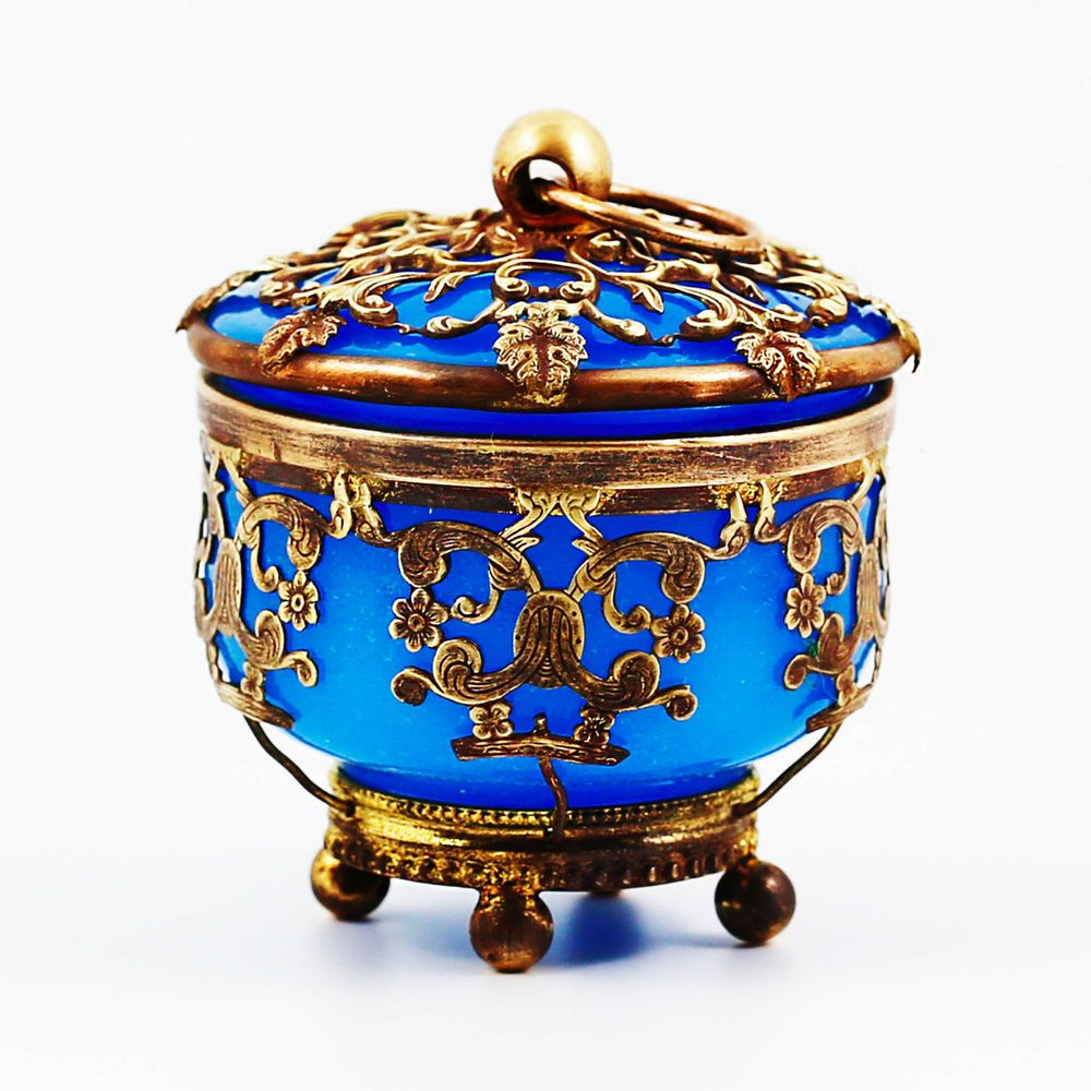 Antique Napoleon era French blue Opaline crystal glass & Brass Dore lidded Bowl #2ndEmpire #madeinFrance