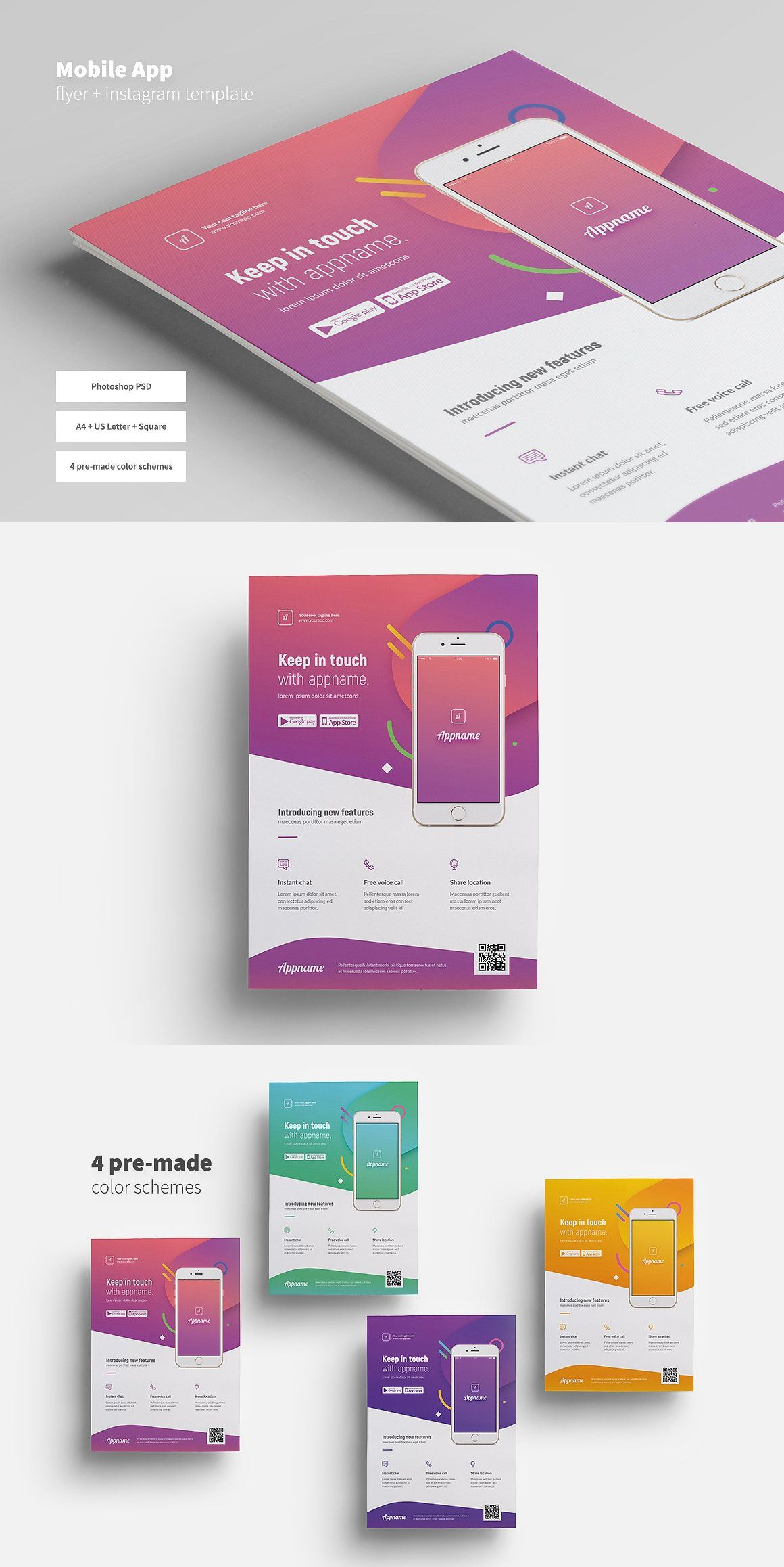 Mobile App Flyer Instagram Template Psd Flyer Templates