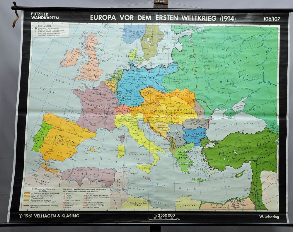 old geographical wall chart poster map Europe