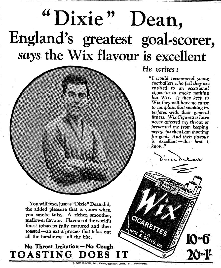 Dixie Dean of Everton & England in Wix Cigarettes advert in the
