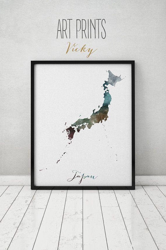 Japan Watercolor Map Japan Wall Art Map Poster By Artprintsvicky