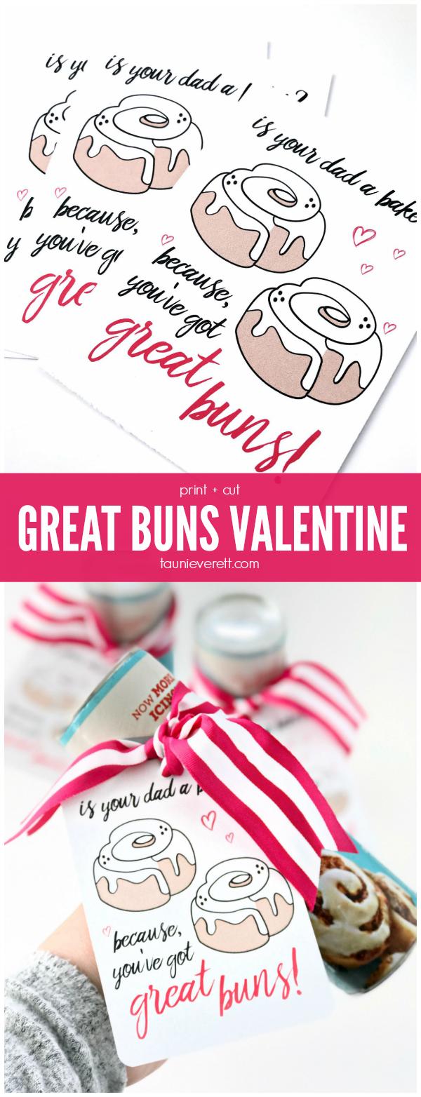 Free download print + cut Great Buns Valentine. #valentine #valentinecards #valentines