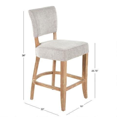 Gray Wood Monroe Upholstered Counter Stool World Market Counter Stools Grey Wood Stool Grey wood bar stools