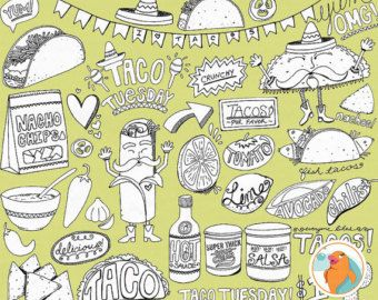 Taco Tuesday Line Art, Cinco De Mayo Digital Graphics, Mexican Fiesta Illustration, Food ClipArt Silhouettes, Printable Coloring Images