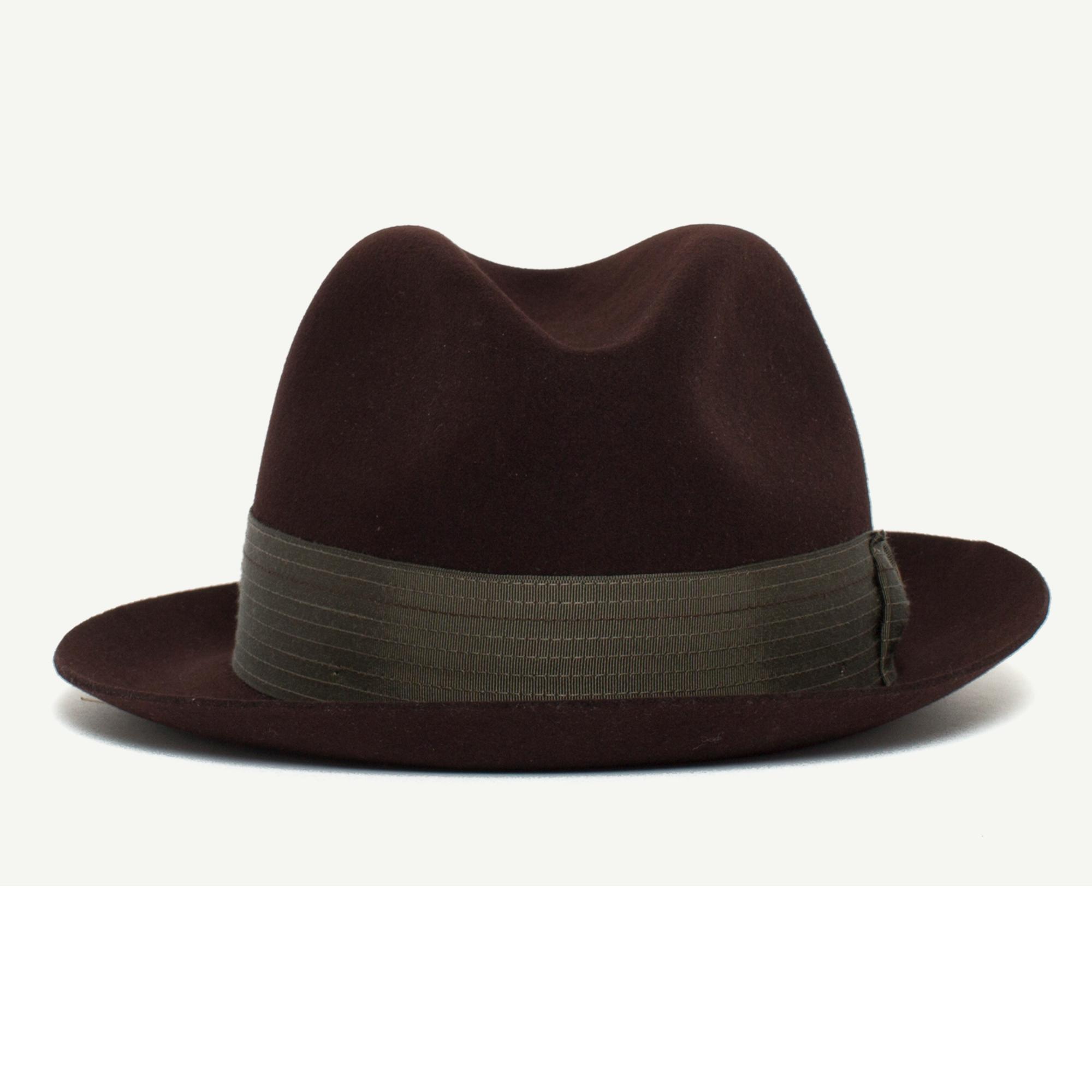 Big Lou Burgundy felt Classic Brim Fedora hat front view  ffcb6a689c8
