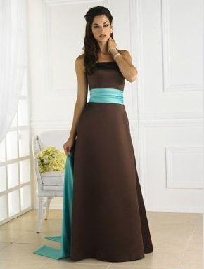 Turquoise and Brown Wedding Dress