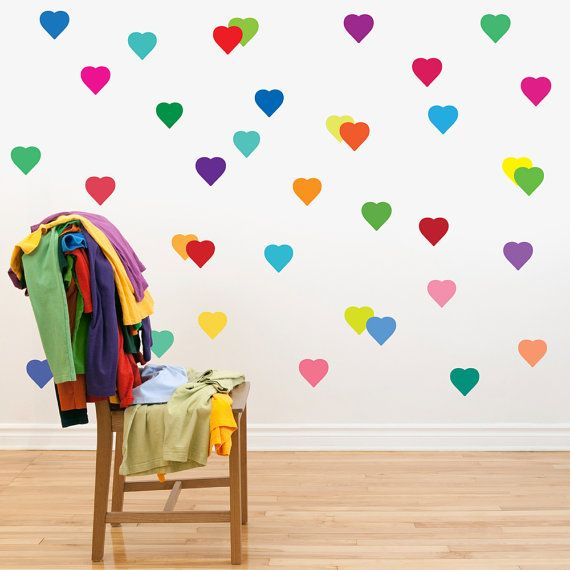 72 Confetti Rainbow Hearts And Polka Dot Wall Decals Eco Friendly Removable And Reusable Fabric Wall Stickers