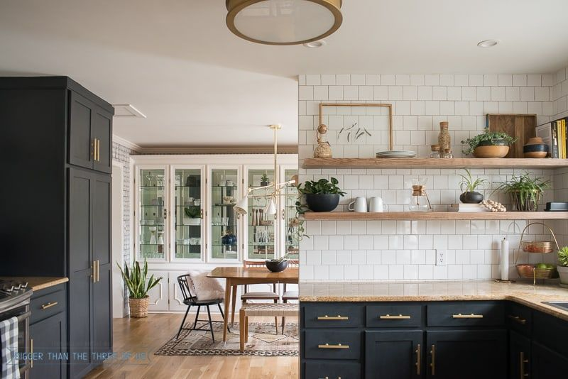 Kitchen Renovation With Dark Cabinets And Open Shelving Bigger