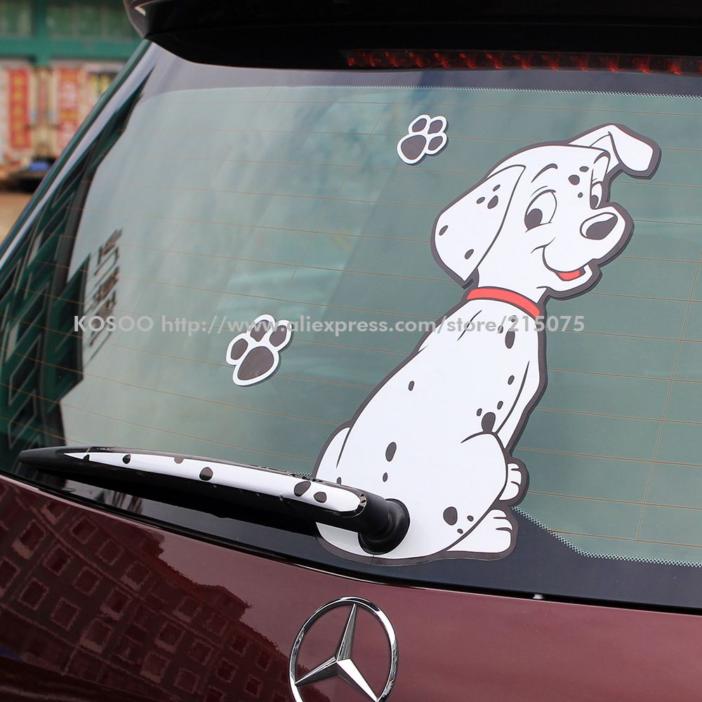 3d Stickers Dog Dalmatian Cartoon Moving Tail Rear Window Wiper Reflective Decal