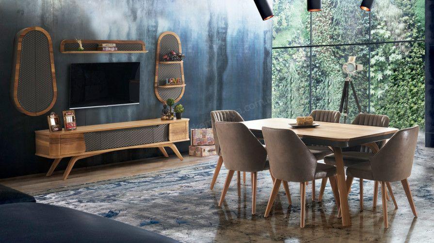 atlantik ahsap yemek odasi takimi fm home decor furniture tv unit furniture