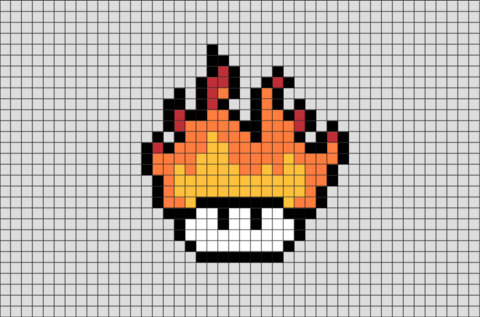Fire Mushroom Pixel Art Cool Pixel Art Pixel Art Anime