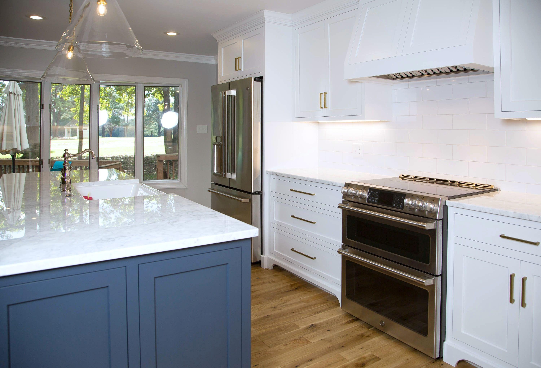 White Custom Kitchen With Navy Blue Island Custom Kitchen Kitchen Home Decor