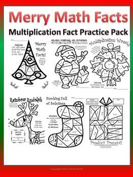 Merry Multiplication Facts Color By Number Pack Fun