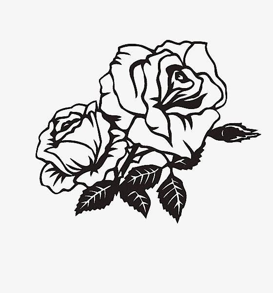 Надписью, картинки черно белые цветы розы