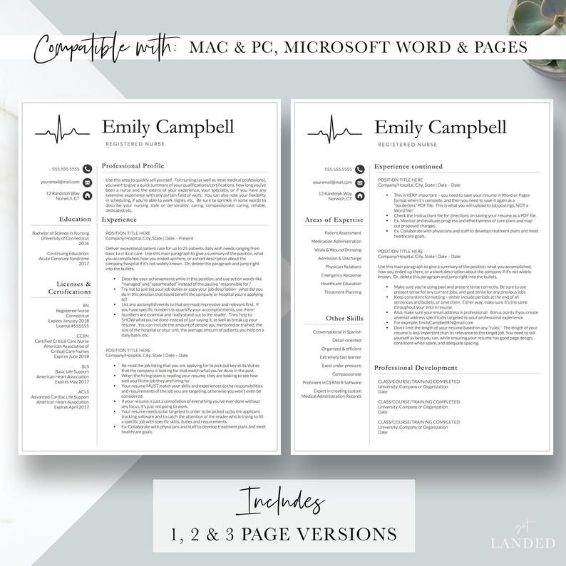New Nurse Resume Template Registered Nurse Resume Template Etsy Nursing Resume Template Nursing Resume Medical Assistant Resume
