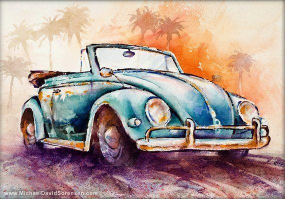 California Convertible- Classic VW Bug Watercolor Artwork Print. Traditional Aut…