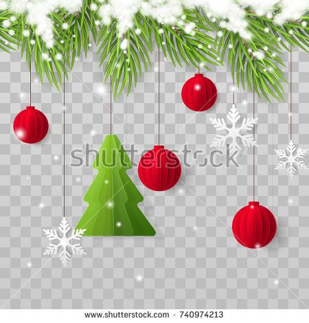 Vector Horizontally Seamless Border With Realistic Christmas Tree Branches Snow Paper Fir Tree Red Xmas Christmas Crafts Realistic Christmas Trees Christmas
