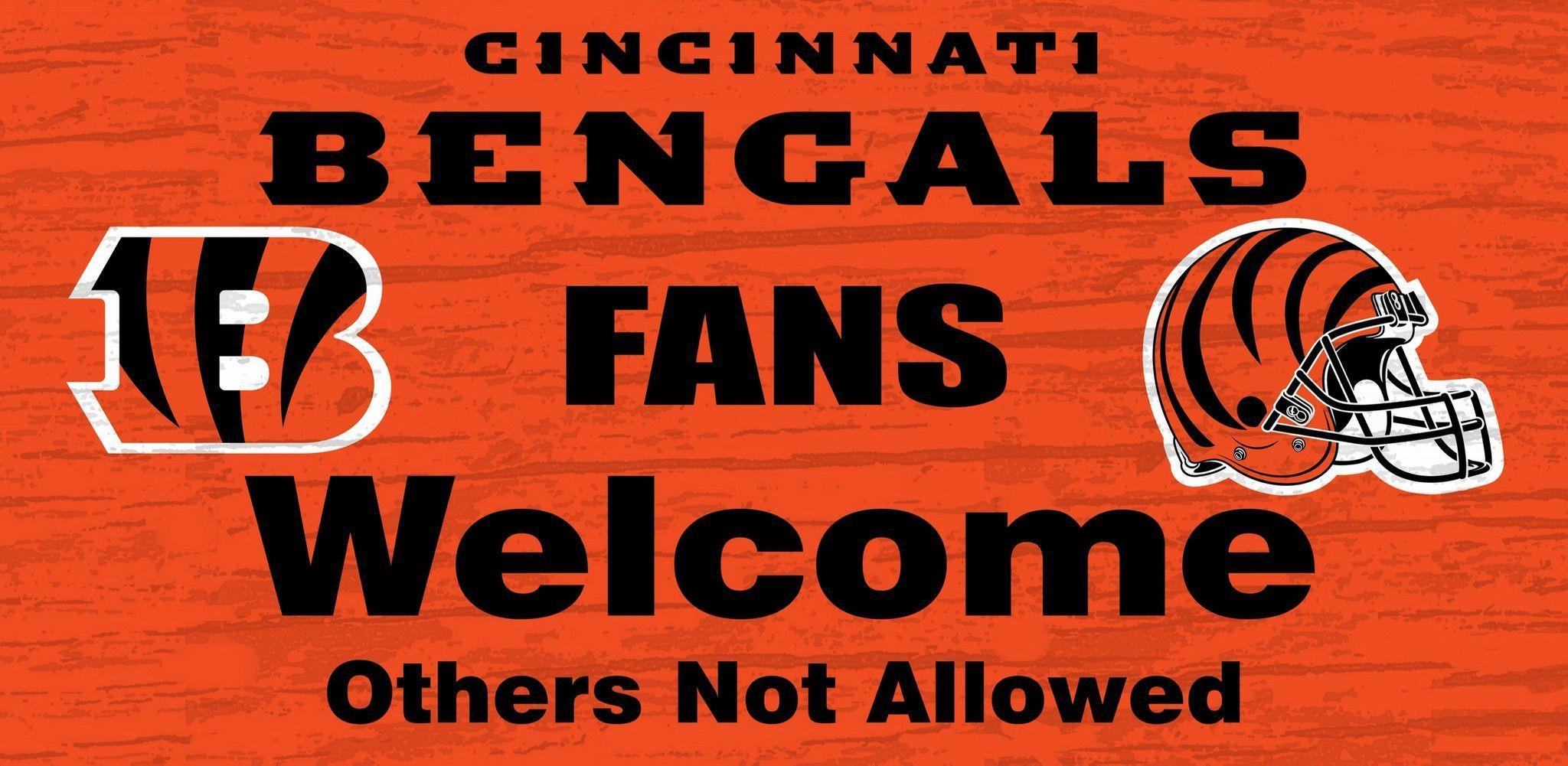 """Cincinnati Bengals Wood Sign - Fans Welcome 12""""x6"""""""