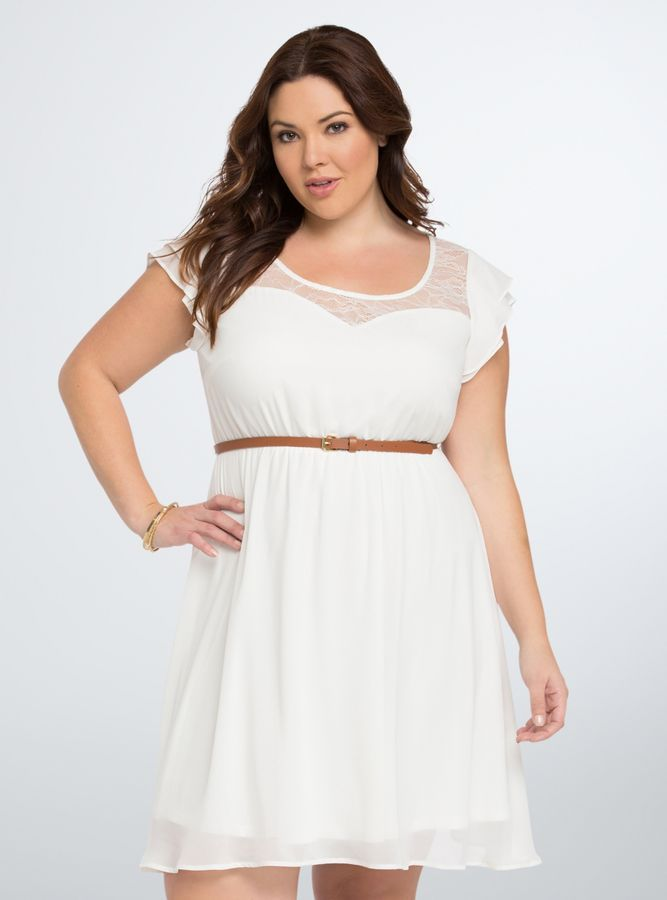 Plus Size Ruffle Lace Inset Skater Dress Plus Size Fashion
