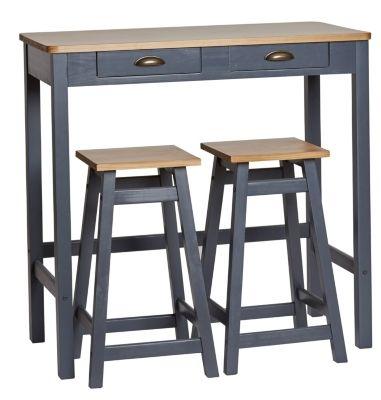 Table bar 2 tabourets maya bois massif gris table - Table de cuisine haute avec tabouret ...