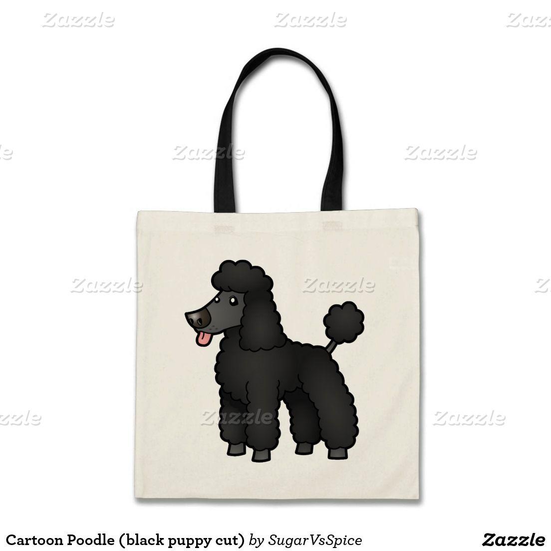 80853b1a4 Caniche del dibujo animado (perrito negro cortado) bolsa tela barata ...