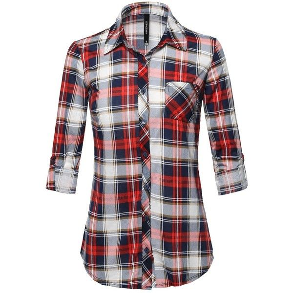 6ac4ea708c9 Awesome21 Women's Relaxed Fit Checkered Plaid Roll Up Sleeve Button... ($41)