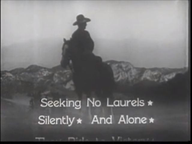 "5 of 7. Title sequence. Dedication scroll. ""Seeking No Laurels"" [star] Silently [star] And Alone [star]"" 