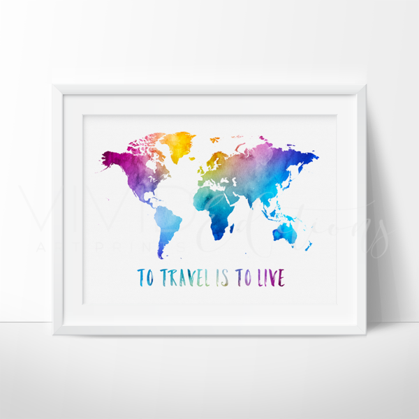 To travel is to live travel quote world map watercolor art print decorate your nursery with world map art prints for nursery walls from vivideditions art prints gumiabroncs Choice Image