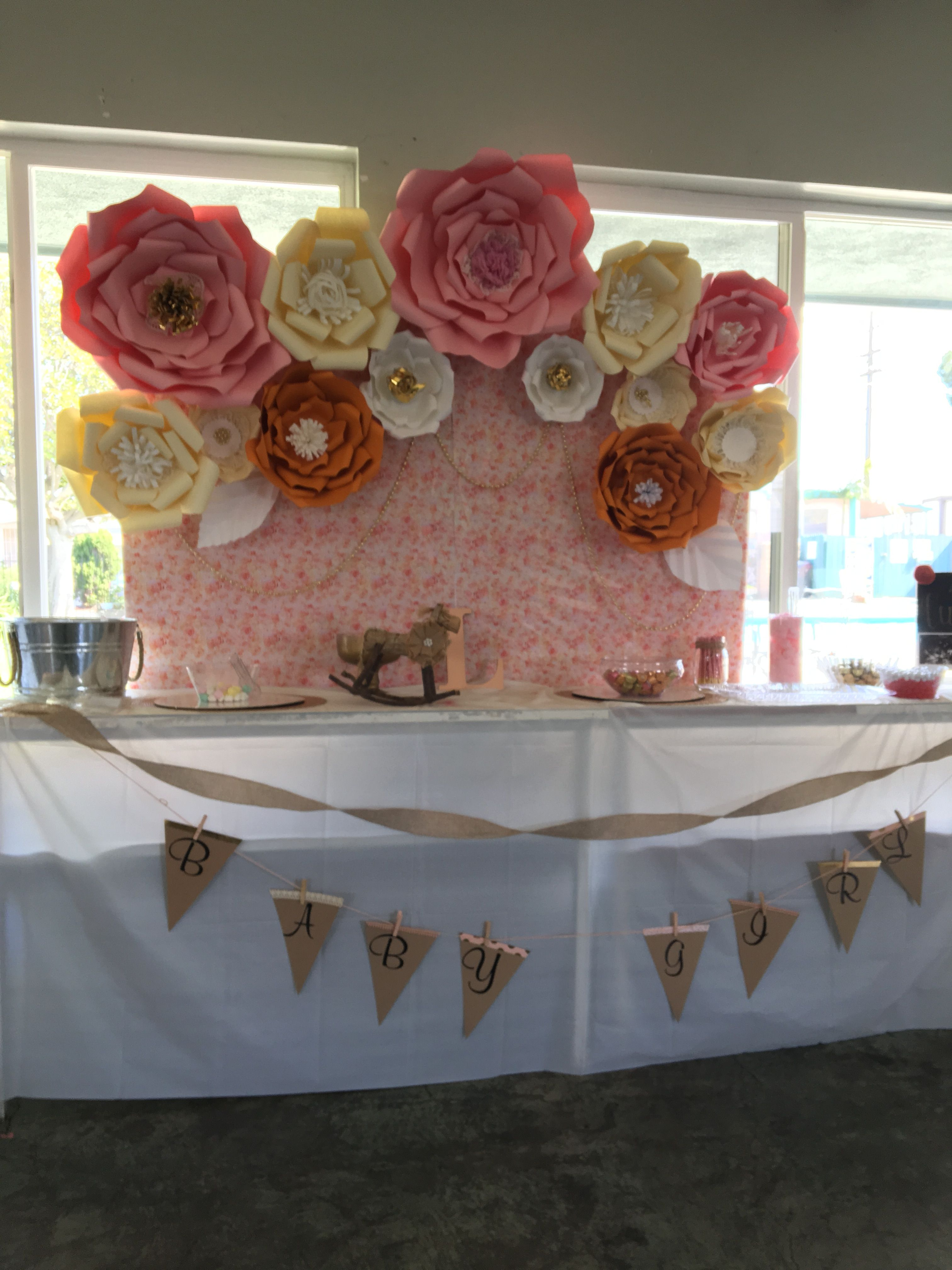 Baby Shower Candy Or Cake Table Big Paper Flower Backdrop Vintage