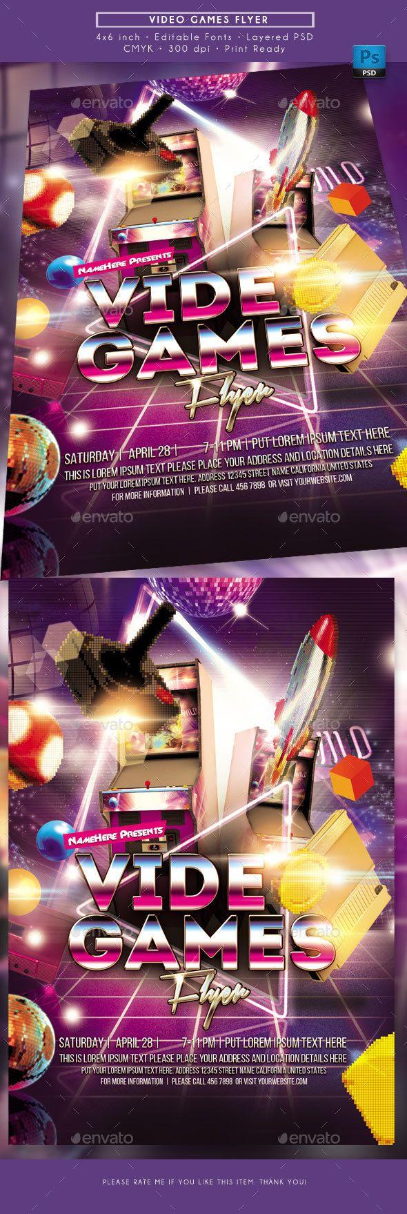 Video Games Flyer Template Psd - Download Here:  Https://graphicriver.net/item/video-Games-Flyer/21745638?ref=Ksioks
