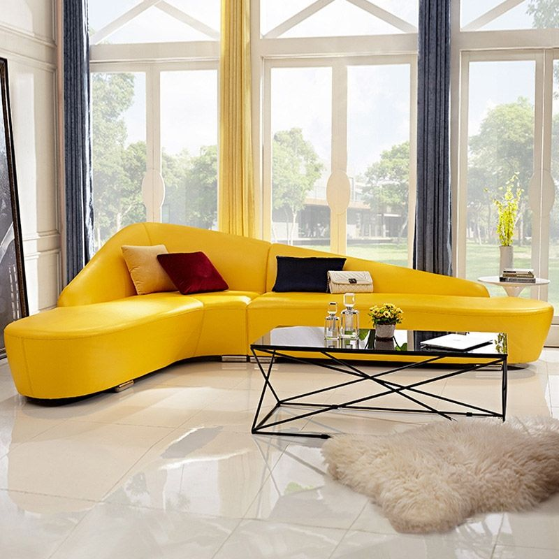 Modern Faux Leather Sectional Sofa Upholstered L Shaped Corner