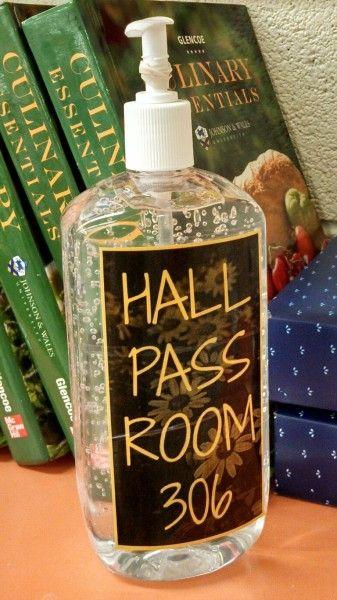 A Unique Idea For A Hall Pass A Bottle Of Hand Sanitizer