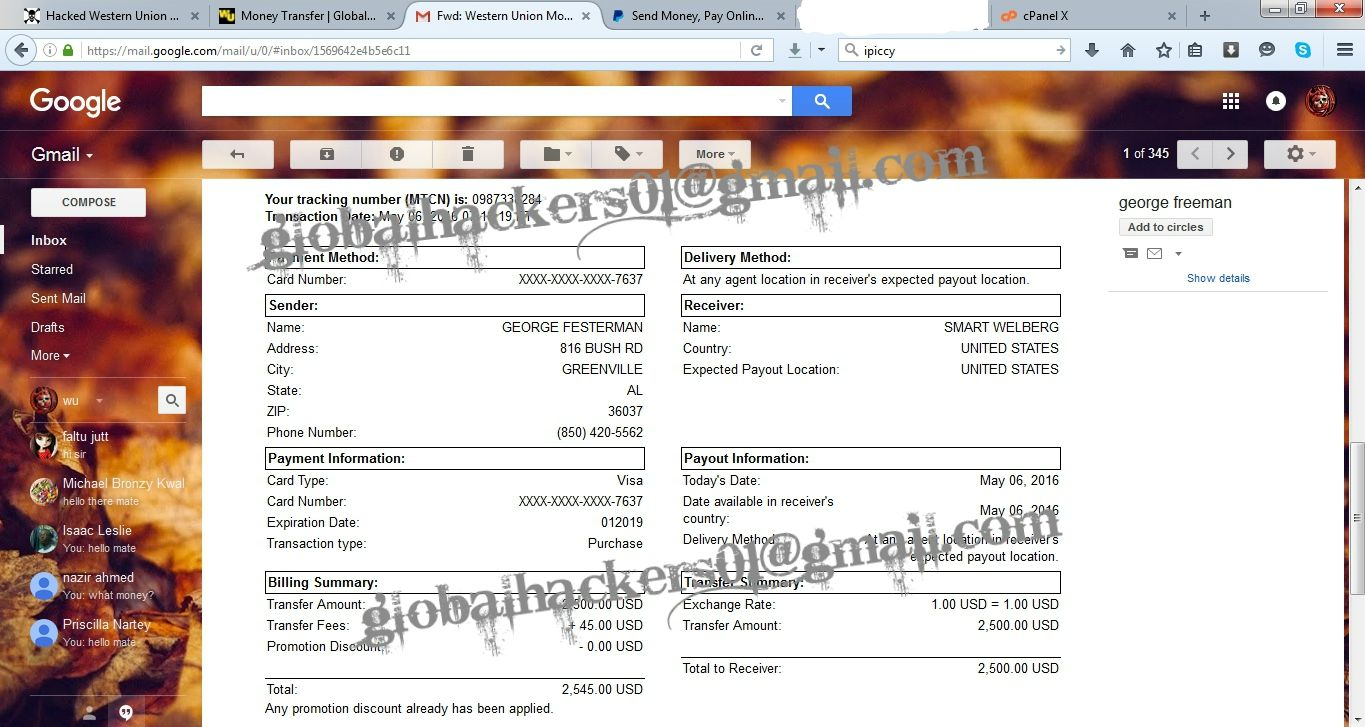 Hacked Western Union Transfer Business bank account