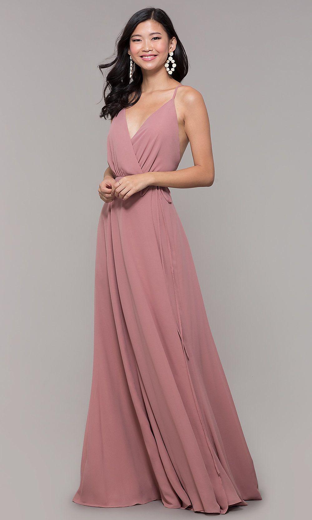 a3e8411547c4b Long Formal V-Neck Wrap Prom Dress in 2019