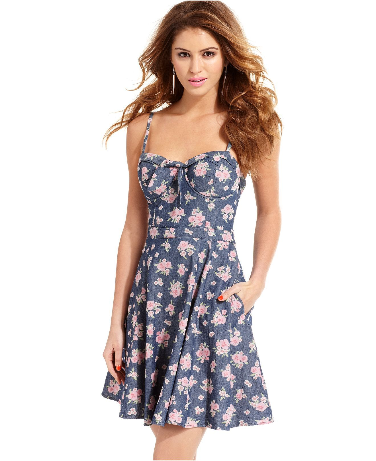 Jessica Simpson Juniors Dress, Sleeveless Floral-Print Chambray - Juniors  Jessica Simpson - Macy s 6ee7f0cc462c