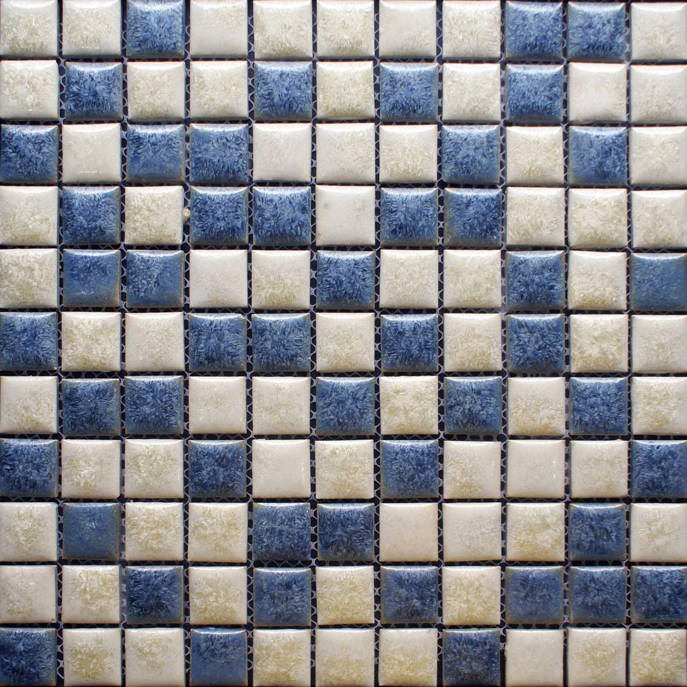 Blue and beige porcelain tile backsplash kitchen wall art bathroom ...